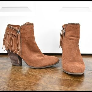Dolce Vita Brown Suede Fringe Booties